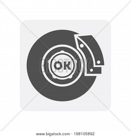 Car diagnostics icon with brake disk element. Auto repair service symbol, automobile center pictogram isolated vector illustration