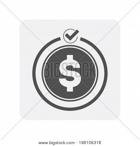 Creditworthiness icon with money sign. Credit score symbol, financial history, commercial bank pictogram isolated vector illustration