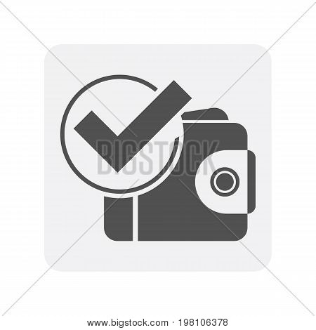 Creditworthiness icon with wallet sign. Credit score symbol, financial history, commercial bank pictogram isolated vector illustration