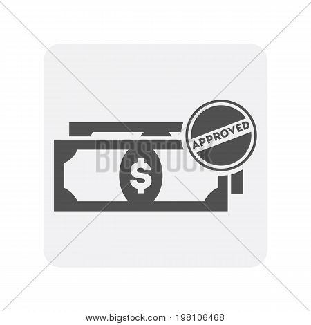 Creditworthiness icon with money banknote sign. Credit score symbol, financial history, commercial bank pictogram isolated vector illustration