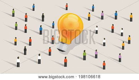 crowdfunding crowd-sourcing big ides bulb community of people together standing together vector