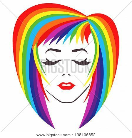 Girl With Closed Eyes And Spectrum Color Hair