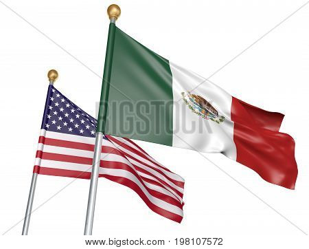 Mexico and United States flags flying together for important diplomatic talks, 3D rendering