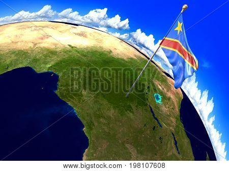 DR Congo national flag marking the country location on world map. 3D rendering, parts of this image furnished by NASA