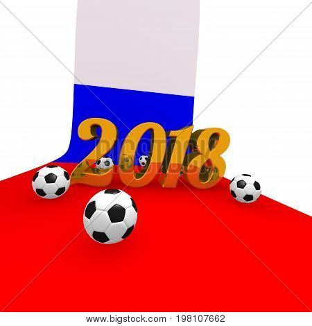 Soccer background 2018 in Russia 3d rendering image