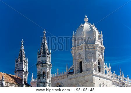 Mosteiro dos Jeronimos (Hieronymites Monastery) located in the Belem district of Lisbon Portugal.