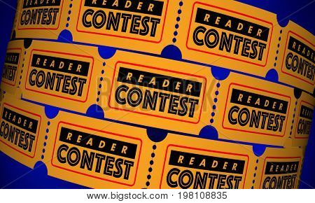 Reader Contest Audience Web Online Tickets 3d Illustration