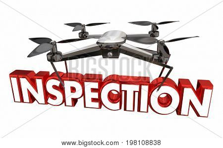 Inspection Property Inspecting Drone Flying Carrying Word 3d Illustration