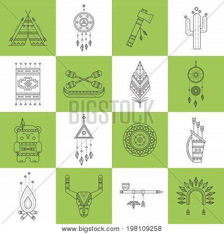 Tribal thin line icons set, vector illustration. Boho elements, bohemian style, ethnic american symbols. Black on white isolated illustrations. Simple mono linear modern design.