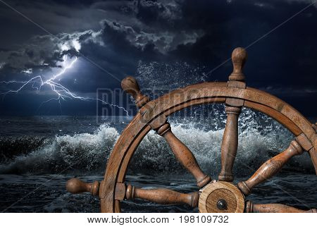 Steering wheel and thunderstorm 3d illustration