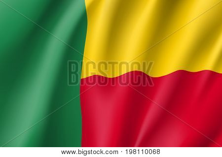 Benin flag. National patriotic symbol in official country colors. Illustration of Africa state waving flag. Realistic vector icon