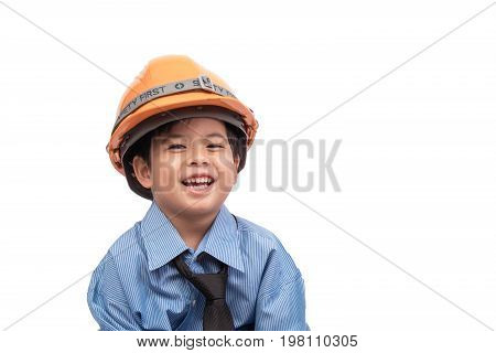 Little asian boy happy in construction engineering suit on white background. Dream job concept. clipping path.