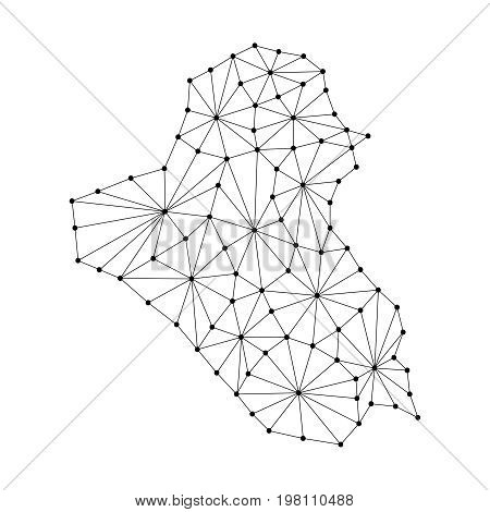 Iraq map of polygonal mosaic lines network rays and dots vector illustration.