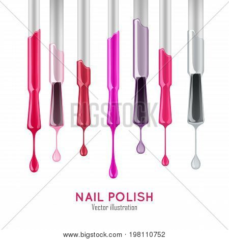 Nail polish examples realistic set. Professional care concept. Samples of varnish of different colors on the brushes with the droplets. Nail polish vector illustration