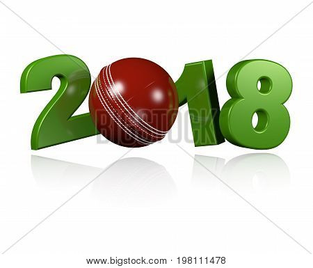 3D illustration of Cricket ball 2018 Design with a white Background