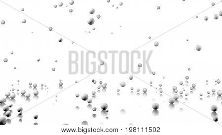 3D illustration of Many Handball balls raining with a reflecting floor and a white background