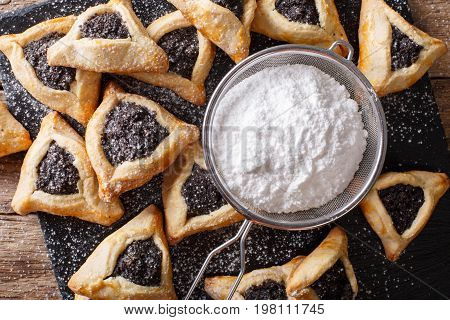 Hamantaschen Cookies Or Hamans Ears Purim Celebration Closeup. Horizontal Top View