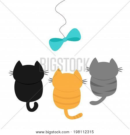 Three kittens looking up to bow on rope. Cute cartoon funny character. Playing animal set. Adopt me. Love card Flat design White background Isolated Vector