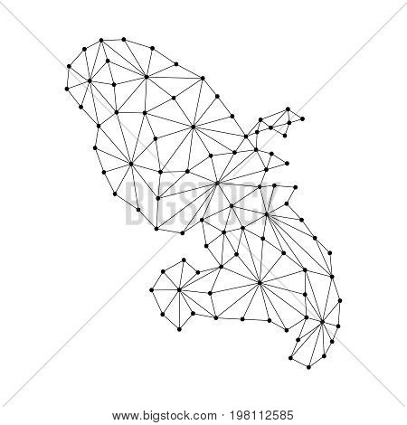 Martinique map of polygonal mosaic lines network rays and dots vector illustration.