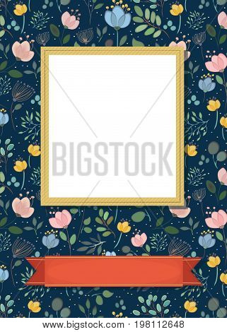 Floral greeting card. Graceful watercolor flowers and plants. Yellow frame for custom photo. Red banner for custom text. Black background