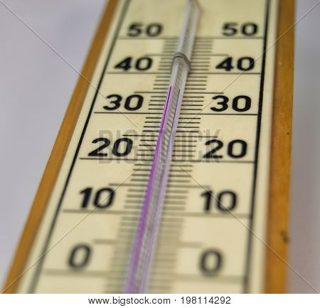 ambient temperature measurement by a mercury thermometer : 36 celsius degree