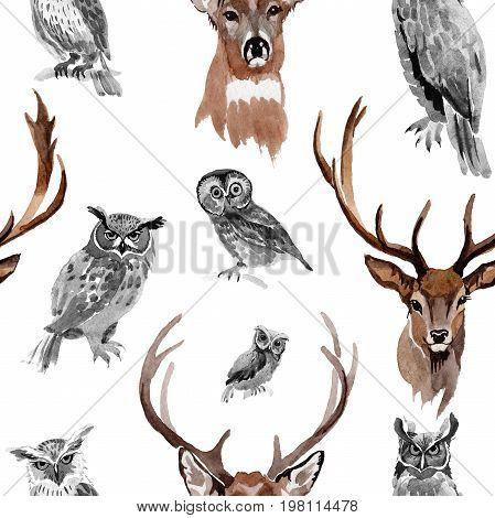 Reindeer wild animal pattern in a watercolor style.