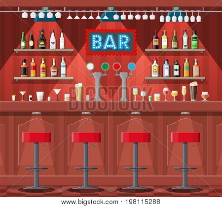 Drinking establishment. Interior of pub, cafe or bar. Bar counter, chairs and shelves with alcohol bottles. Glasses and lamp. Wooden decor. Vector illustration in flat style.