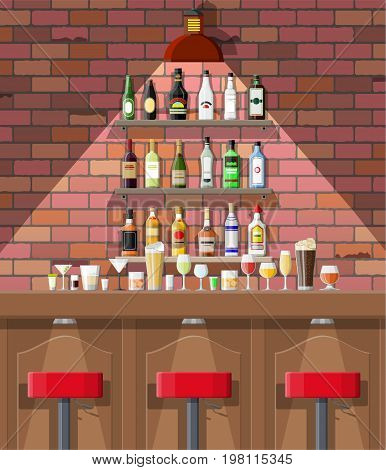 Drinking establishment. Interior of pub, cafe or bar. Bar counter, chairs and shelves with alcohol bottles. Glasses and lamp. Wooden and brick decor. Vector illustration in flat style.