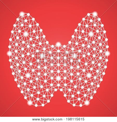 Human Thyroid Isolated On A Red Background. Vector Illustration.Endocrinology. Creative Medical Concept