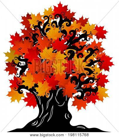 Old maple tree with crimped branches, a hollow, knotty roots. Tattoos, doodling style. Element for Halloween design, print on the T-shirt, souvenir products.
