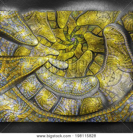 3D rendering of plastic background with embossed yellow superspiral fractal on leather
