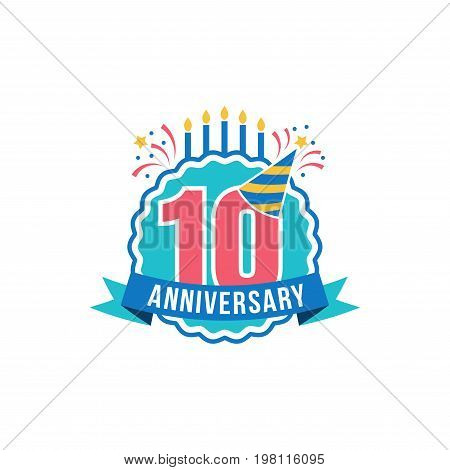 Anniversary golden ten years number. 10th years festive Logo and greeting for invitation decor. Flat style vector illustration isolated on white background. Birthday badge with ribbon