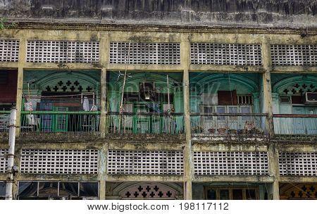 Old Buildings At Downtown In Yangon, Myanmar