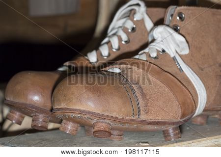 Old Football boots from 1910 close up.