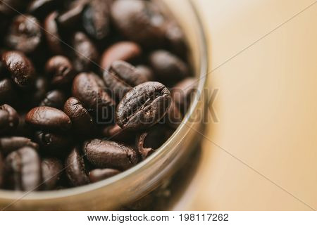 Closeup Arabica Rosted Coffee Bean Decoration Cafe Background Photography With Space For Text.