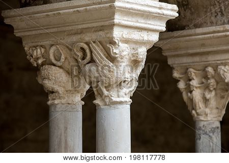 Romanesque capitals of the columns in the cloisters of the Abbey of Montmajour near Arles France