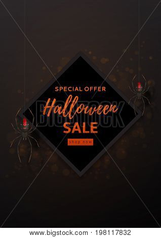 Halloween sale design poster. Vector illustration. Festive card with spiders on spider web.