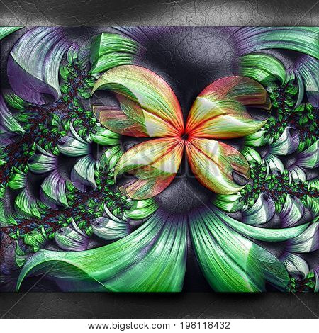 3D rendering of plastic background with embossed white butterfly fractal on leather
