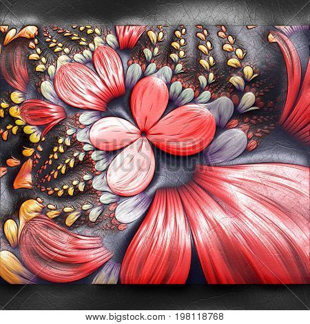 3D rendering of plastic background with embossed red butterflies fractal on leather