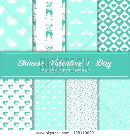 Seamless wallpaper with lanterns and heart for Valentine s day. Blue and white color fabric. Stock vector.