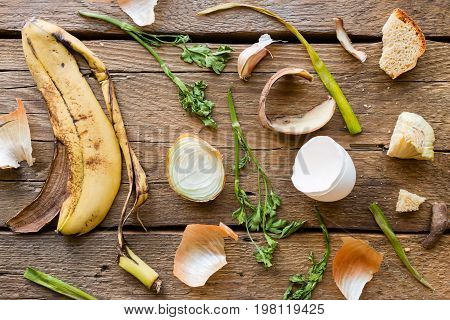 Food Waste And Leftovers On A Wooden Background