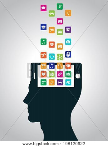 Mobile apps are downloaded and installed in the head in the form of a smartphone, replacing the mind