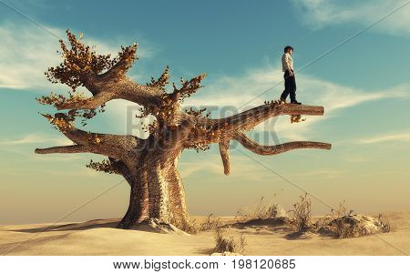 Man climbed a big tree in the desert and look away. This is a 3d render illustration.