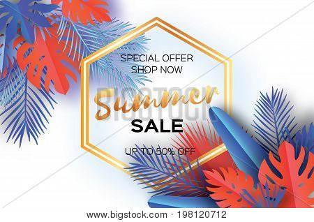 Trendy Summer Sale Template banner. Paper art Tropical palm leaves, plants. Exotic. Hawaiian. Space for text. Hexagon frame. Colorful jungle floral background. Monstera. Vector illustration