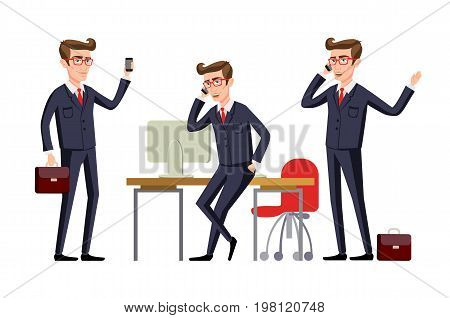 Businessman In A Office Workplace Is Sitting On A Table And Talking On The Cellphone. Vector Illustr