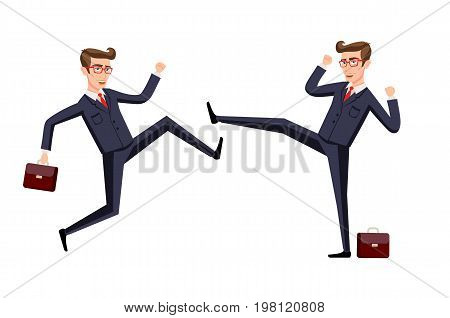 Business Fight Club. Karate, Businesspeople And Violence, Battler Strength. Vector Illustration