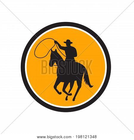 Illustration of a Rodeo Cowboy riding horse with lasso rope Team Roping set inside Circle done in retro style.