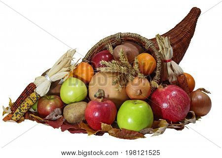 Thanksgiving cornucopia horn of plenty  with vegetable, fruits harvest  over white background