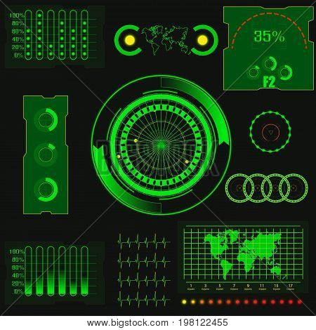 Abstract creative concept vector futuristic green virtual graphic touch user interface HUD. Abstract digital green radar scree for web, site on black background, illustration, design, infographic.