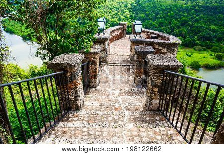 Medieval bridge over the river Chavon in the Dominican Republic